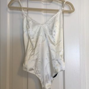 Pretty Little Thing Ivory Lace Thong Bodysuit